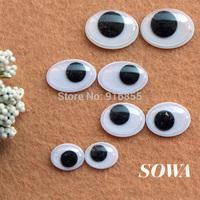 Free Shipping Wholesale 1000PCS/lot Size 6x8mm Black And White Oval Design Imitate Animal Eye Dolls Eye For Toy DIY