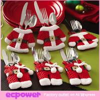 Fancy 6pcs/Set Handmade Santa Christmas Decorations Silverware Holders Pockets Dinner Tableware Decoration