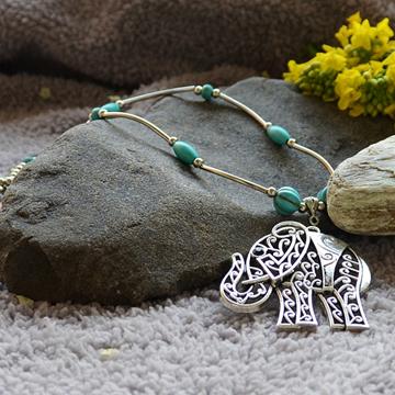 z love jewelry Tibetan Silver Elephant Pendant Necklace Turquoise Charm Silver Chains Women Jewlery