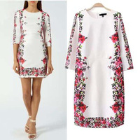 vestidos femininos 2014 hitz air layer positioned printed women dress sleeve round neck casual dresses vestido