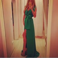 2014 summer new fashion women's clothing sleeveless deep V-neck solid color chiffon dress sexy dress free shipping