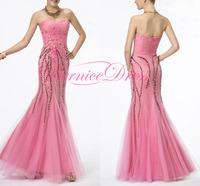 Vestido De Festa Curto Sweetheart Flowers Mermaid Long Prom Dresses Custom Made Elegant Dress Party Evening Gown 2014 Cheap