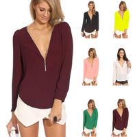 S-XXL New Fashion 2015 Spring Women's Female 6 Colors V Neck Long Sleeve Casual Chiffon Zipper Slim Tops Blouse Blusas PS0633