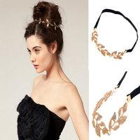 New Fashion Crystal Gold Leaf Headband Grecian Garland Forehead Hair band Headband Gold Olive Branch Hair Accessory