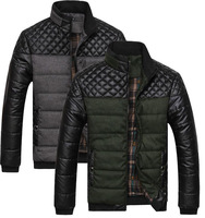 Z020 Free shipping men's the new fashion patchwork PU&Polyester slim thick zipper jackets casual lattice sutures man overcoat