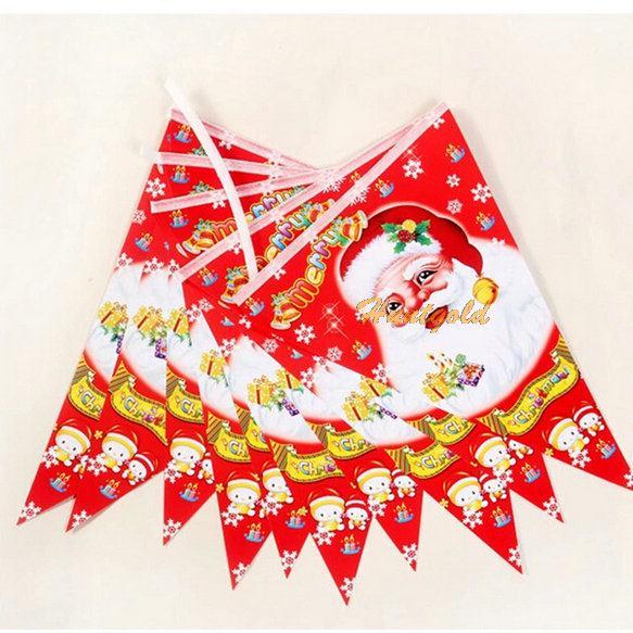 1X Santa Claus Xmas Merry Christmas Tree Hanging Paper Flag Banner Ornament Gift Decoration(China (Mainland))