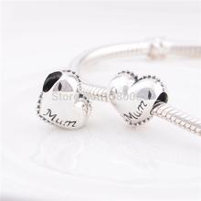 925 Sterling Silver Love Heart Mum Charm Beads fits Chamilia Pandora Style Bracelets