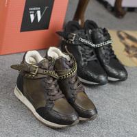 2014 Designer Women Punk Platform Sneaker Winter Lace-up Rivet Chains Sneaker for woman Casual Leather Sport Shoes