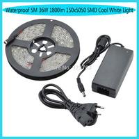 Waterproof 5M 36W 1800lm 150x5050 SMD  Light LED Strip Light (DC 12V ) Free shipping