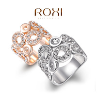 11.11 ROXI Classic Genuine Summer Gift Austrian Rose Gold Plated Happiness Circles Ring Fashion Jewelry