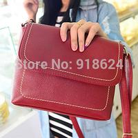 Vintage Solid Color Women's Luxury PU Postman Shoulder Bag Wild Casual Cross Body Messenger Bag  Belts Bag Free Shipping New2014