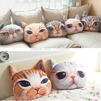 Soft Stuffed Plush 3D Cute Cat Dog Face Throw Pillow Decor Cushion Toy Doll Free Shipping 1pcs/lot