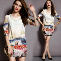 XL-5XL 2014 New Hot Autumn Winter Vestidos For Women Clothing Plus Size Dresses Slim was thin wild pearl dress big yards