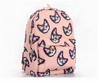 free shipping 2014 women's cute owl printing school backpacks canvas casual bagpack for teenage girls mochila infantil