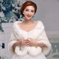 2014 New Elegant Ivory Faux Fur Wrap Shrug Wedding Accessories Bolero Shawl Cape Bridal Wedding Jacket