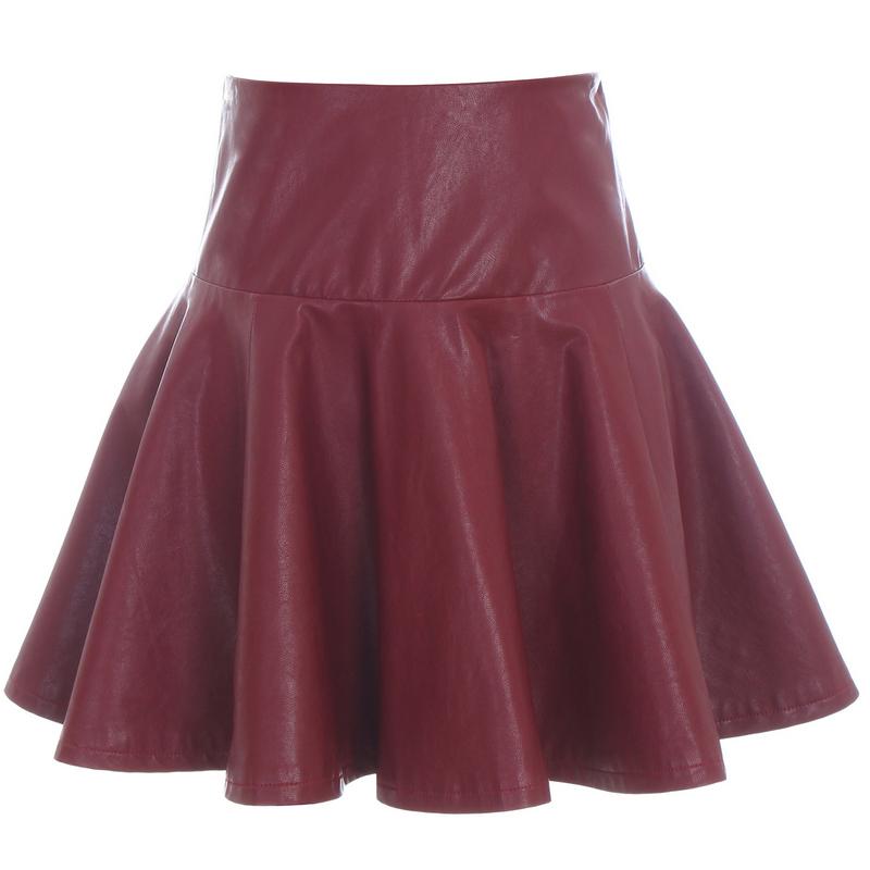 High Waist Black PU Pleated Bust Skirt Autumn Winter Women Faux Leather Side Zipper Big Swing Ball Gown Mini Skirt Free Shipping(China (Mainland))