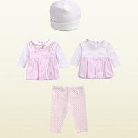 Wholesale  Brand  2014  New  fashion  spring/autumn  children's  suit  long  sleeve print  pattern girl's suit  blouse+pants+hat