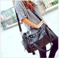 2014 women's fashion handbag fashion rivet tassel big bags preppy style one shoulder cross-body bag motorcycle