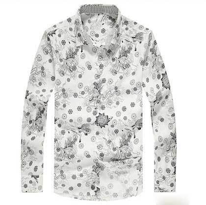 New 2014 cotton slim fit men casual shirts autumn print Comfortable men's long sleeved turn-dowm collar overshirt(China (Mainland))