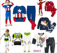 Retail Drop Shipping Children's Baby nightclothes Iron man boys Pyjamas suits Kids shirts+ trousers 100% cotton Pajama Sets
