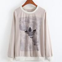 Brands Autumn Winter Fashion Women Cotton Casual Hoodies Plus Size Gray Long Sleeve Sweatshirt Harajuku Pullovers  30134