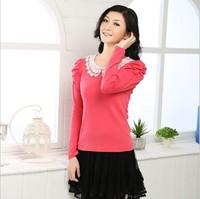 2014 elegant puff sleeve lace decoration basic women's T-shirt long-sleeve shirt Women's top