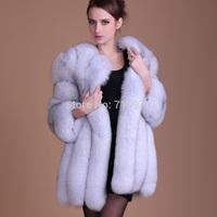 2014 New designer Luxury women coat Winter natural fox fur coats women long sleeve V-neck fur rex winter coat