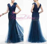 Vestidos De Festa Vestido Longo V-neck Mermaid Navy Blue Long Evening Dress Floor Length Customized Prom Dresses Party Gown 2014