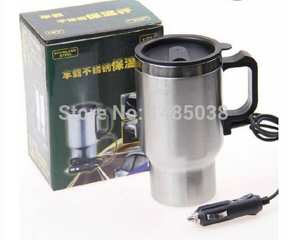 frete grátis 12v 450ml em aço inox aquecimento car cup carro elétrico caneca térmica tipo aquecimento quentes viagens bebida copo(China (Mainland))