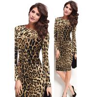 2014 New Arrival Autumn Party Dresses Long Sleeve O-Neck Women Work Office Dress Sheath Leopard Dress Solid Vestidos 9086-30