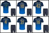 2014 15 Embroidery Away Kun Aguero Silva Dzeko Soccer Kit Set of Jersey & Short TOURE YAYA KOMPANY Football Shirt Uniform