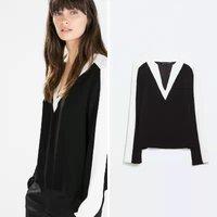New Fashion Ladies elegant black white Contrast Color blouses Patchwork V-neck long sleeve OL shirts casual slim brand tops c539