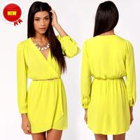 Hot sale top 2014 women dress summer dress V-neck yellow long-sleeved chiffon dress free shipping