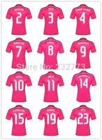 Free Custom All Player 14/15 Real Madrid Away Pink Soccer Jersey Football Kit Ronaldo Hernandez Kroos James Top Quality