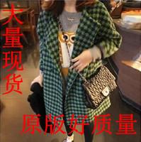 Korea woolen cloth coats for fall/winter 2014 new Womenswear Korean slim thousands birds wool coats