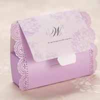 50pcs Romantic violets Pierced Wedding Candy Bags Lots Paper 100mm*35mm*81mm high quality  Favor gift box  free shipping