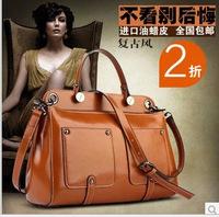 2014 new winter influx of women wax leather bag luxury fashion portable shoulder diagonal handbags free shipping
