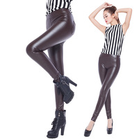 Big Promotion Women Leggings Leather Solid High Elastic Size Brand Legging For Woman 2014 New Arrival Sexy Pants  Free Shipping