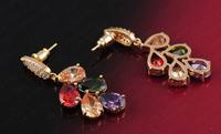 2014 new alloy color retention Korean fashion lovers multicolored diamond earrings  CER0003-C