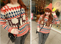 2014 New Women Korean Knitted Sweater Pullover Ladies' Casual Loose Deer Print Womens Sweaters Fashion Autumn Winter Wool Tricot