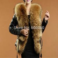 2014 fashion  winter women fur coats short Faux Fur Raccoon Fur Collar Coat imitation sheepskin Covered Button leather jacket