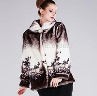 Free shipping detonation model fur coat old mink fur female mother coat plush