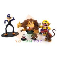 Super Mario Bros Donkey Kong Wario Goomba PVC Action Figures Model Toys Dolls 6pcs/set No Box