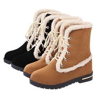 2014 new winter women snow boots Nubuck Mid-calf plush lace-up women fashion warm black boots shoes size 35-39 free shipping