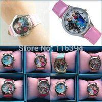 2014 Lovely Lots 5pcs Kids Fashion Quartz Leather Cartoon Frozen Watch Wristwatches With Frozen Paper Gift Box Xmas Free P&P