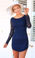 New Women's o-neck Lace Package Hip Mini Dress  S-XL