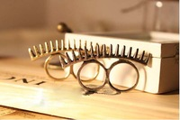 Free shipping. Wholesale Bronze&Silver Color Sawtooth Two Finger Double Ring Punk Gear Spikes Ring
