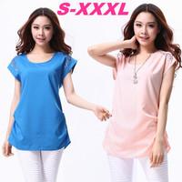 2014 Summer Plus Size XXL/XXXL Women's Casual Diamond Appliques Loose Chiffon Shirts Short Sleeve Waisted Tops Blouses Tees*A279