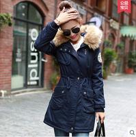 4 Colour 2014 New Fashion Winter Outerwear Coats Women Thicken High Quality Big Fur Neck Slim Long  Parka Coats Jacket Plus Size