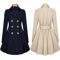 New 2014 Fashion Women's Coat Outerwear Turn-Down Collar Bat Sleeved Solid Slim Long Wool jacket Winter Coats Women D50